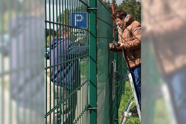 Imbissverkäuferin vertreibt Bratwürste über Zaun