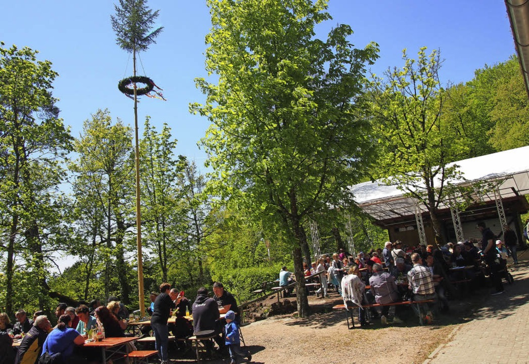 Die Vatertags-Gäste  unterm Maibaum an...urde auch Vegetarisches aufgetischt.    | Foto: Gabriele Poppen