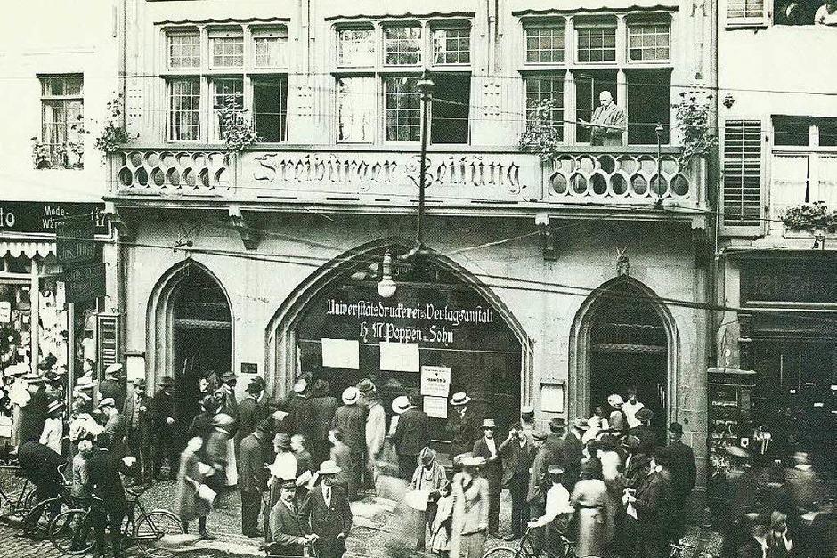 Eine historische Aufnahme der Geschäftstelle der Freiburger Zeitung in der heutigen Kaiser-Joseph-Straße. (Foto: Privat)