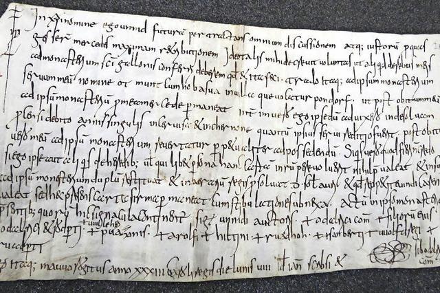 Urkunde im Stiftsarchiv St. Gallen