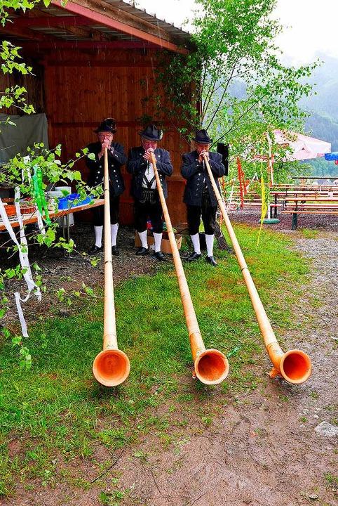 Der Regen konnte die Albhornbläser nic...der der Wehrlehof Mühle zu musizieren.  | Foto: Horst Dauenhauer