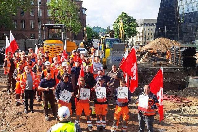 Protest auf Freiburgs zentralster Baustelle