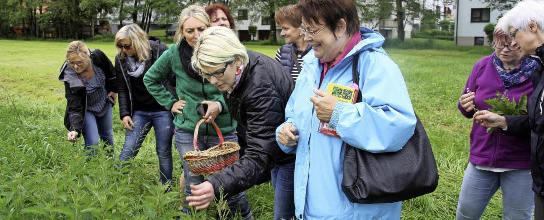 Monika Fischer zeigt einer Teilnehmeri...tunterseite nicht in die Haut stechen.  | Foto: Babette Staiger