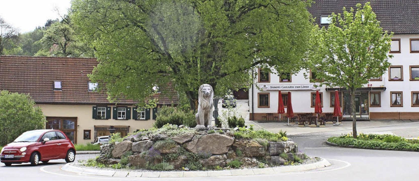 Beim Gasthaus Löwen hinter dem Löwenkr...meter langen Biererlebnispfades sein.     Foto: Dagobert Maier