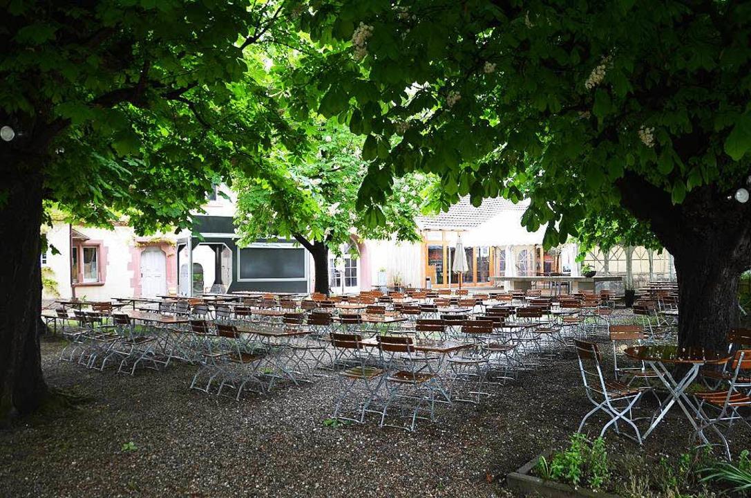 In dem Biergarten finden bis zu 350 Leute Platz.    Foto: Gerold Zink