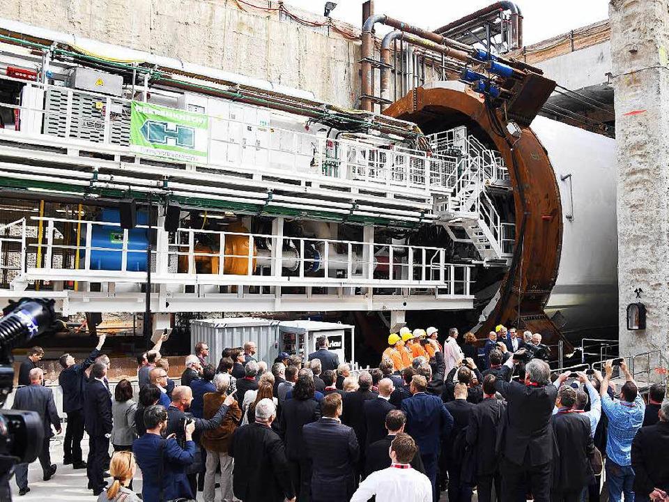 Der fast 4,3 Kilometer lange Tunnel gi...im Ausbau der Strecke Karlsruhe-Basel.  | Foto: dpa