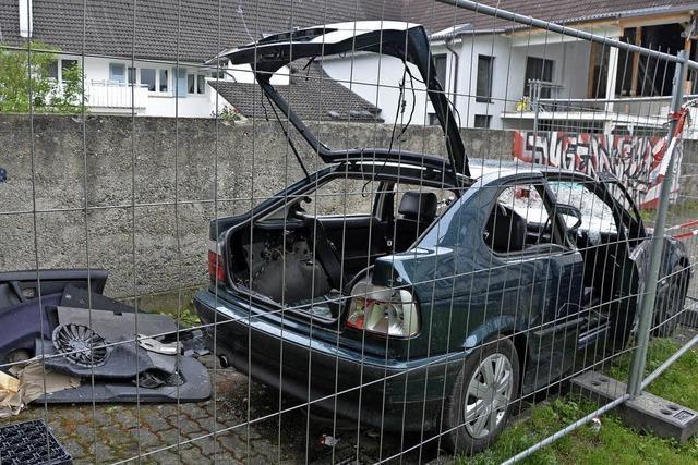 Jugendliche schlagen Auto schrottreif