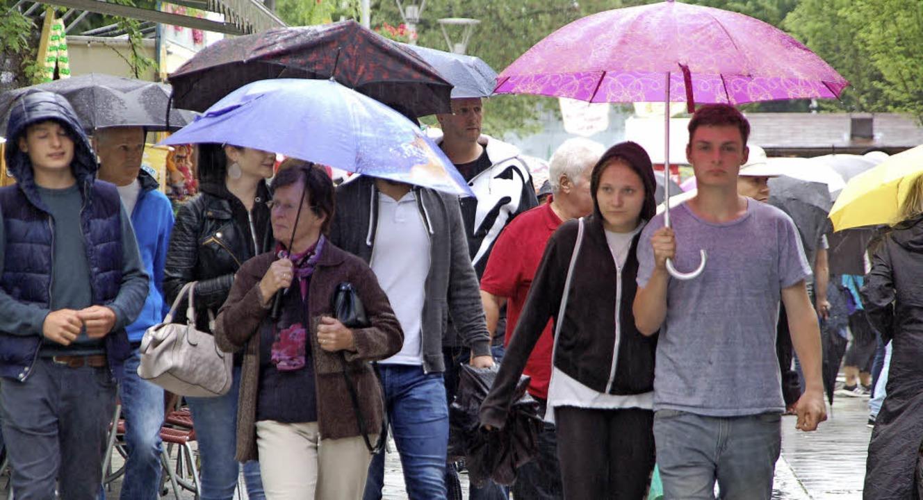 Am Sonntagnachmittag gehörte der Regenschirm zur festen Begleitung der Besucher.    Foto: Petra Wunderle