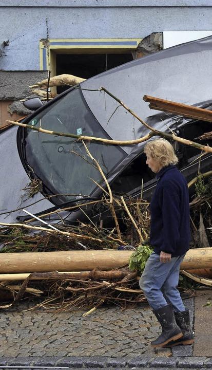 Braunsbach am Montagmittag nach der Katastrophe  | Foto: dpa