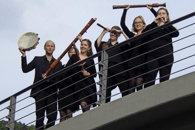Ensemble Flauto Consort aus Freiburg im Konzertsaal der Musikschule