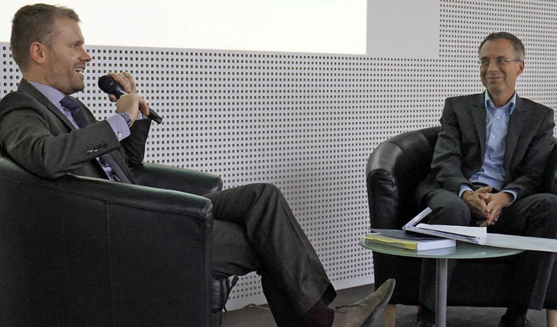 Christian Ante im Gespräch mit Michael Wehner  | Foto: Julius Steckmeister