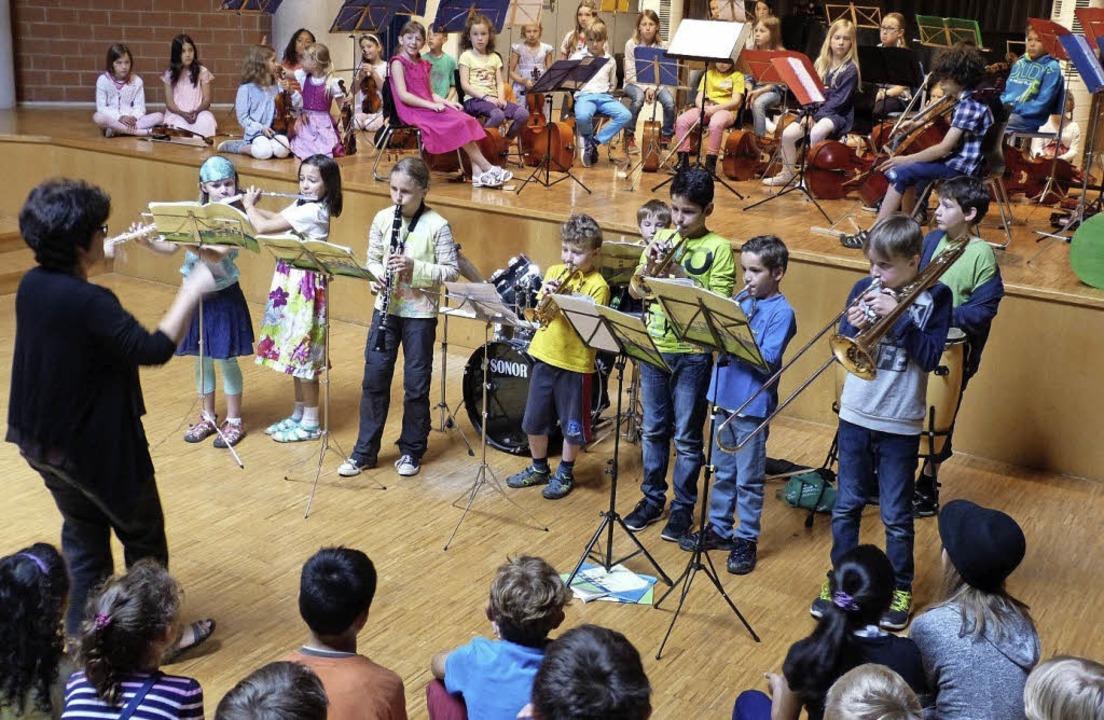 Die Bläserklassen und Streicherklassen...menarbeit von Schulen und Musikschule.  | Foto: Michael-Friedrich-Wild-Schule