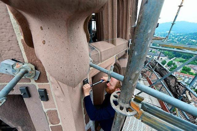 Freiburger Münster: Bald sind zwei Drittel des Turmhelms wieder sichtbar
