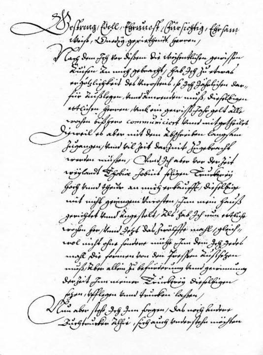 Unten: Bittschrift des Johann Carolus vom Dezember 1605  | Foto: DB Martin Welke/Gutenberg-Museum