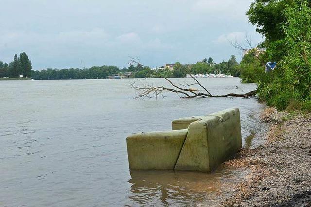 Wie kommt ein großes Sofa ans Rheinufer bei Grenzach?