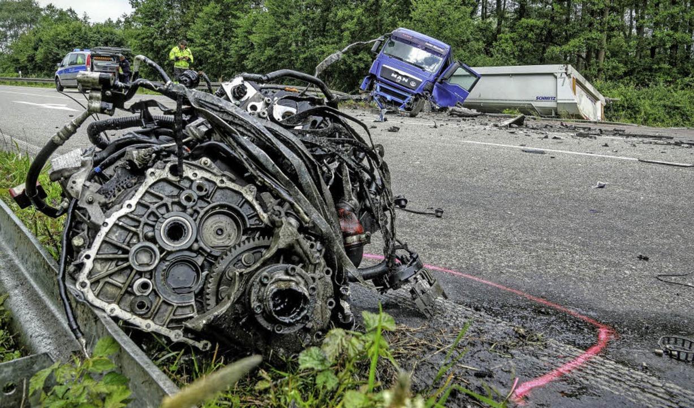 Die Unfallstelle auf der B28 bei Appenweier.     Foto: Lukas Habura