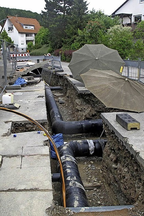 Die Zeiten  der aufgerissenen Straßen ...in Hägelberg, das Nahwärmenetz steht.   | Foto: ZVG