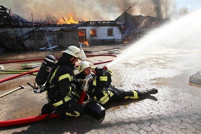 Großfeuer in Schweinemastbetrieb in Neumühl