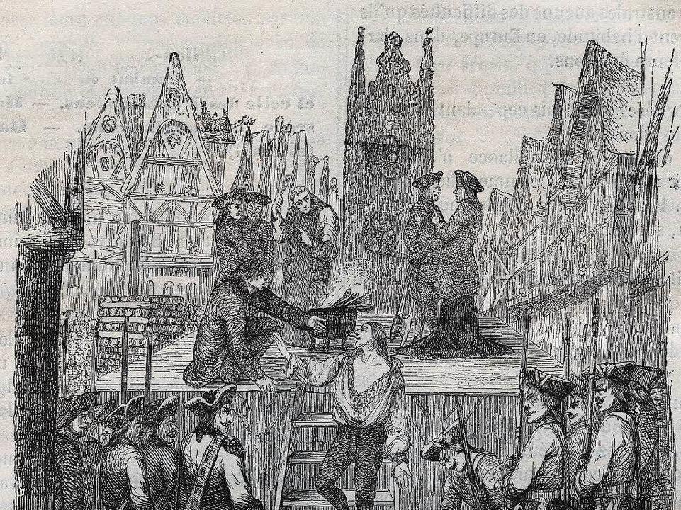 Zeitgenössische Darstellung der Hinrichtung de la Barres