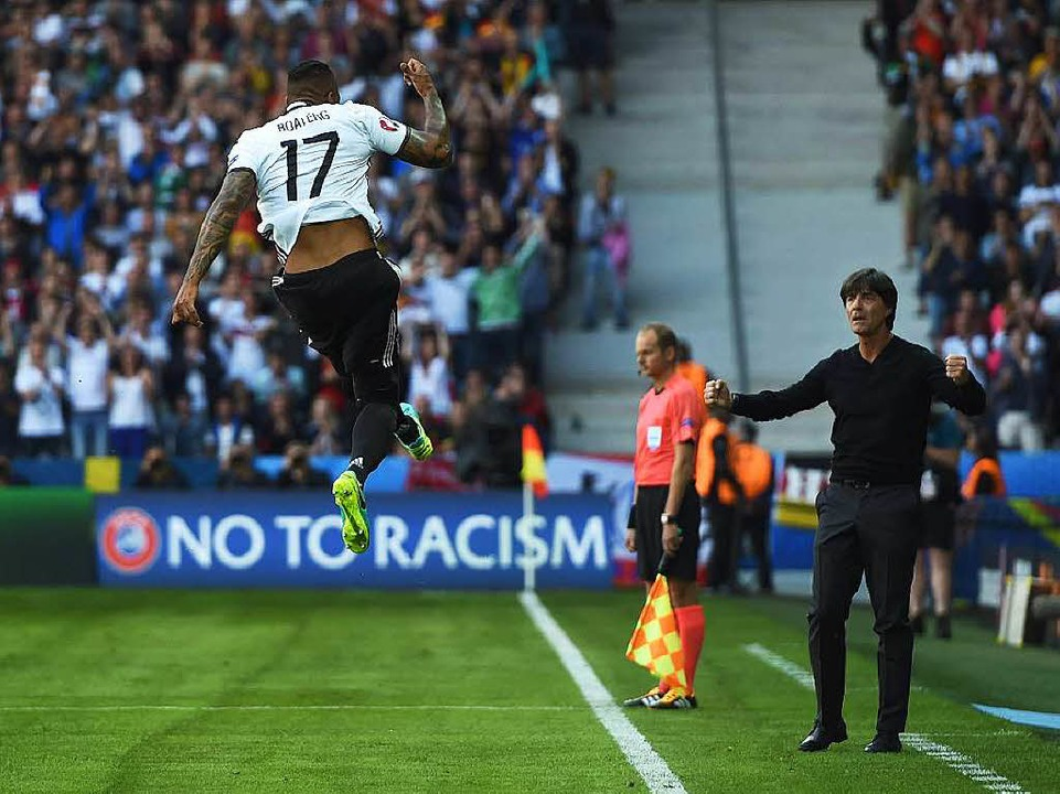 Jerome Boatengs Freudensprung nach seinem frühen 1:0    Foto: AFP