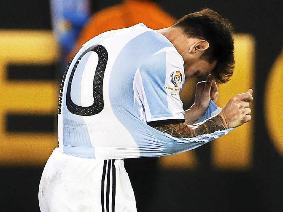 Lionel Messi mag nicht mehr    Foto: dpa