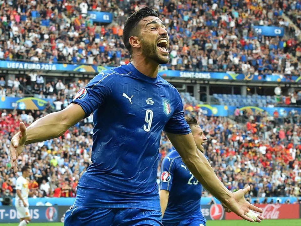 Graziano Pellè bejubelt seinen Treffer in der Nachspielzeit.    Foto: AFP