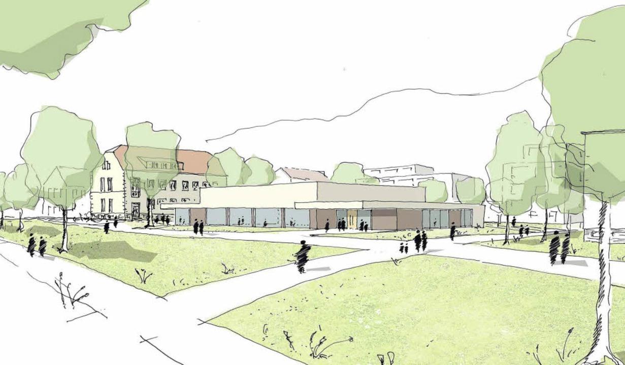 Der Grundriss der neuen Halle (kl. Bil... Jugend und rot für Sport und Vereine.  | Foto: K9 Architekten