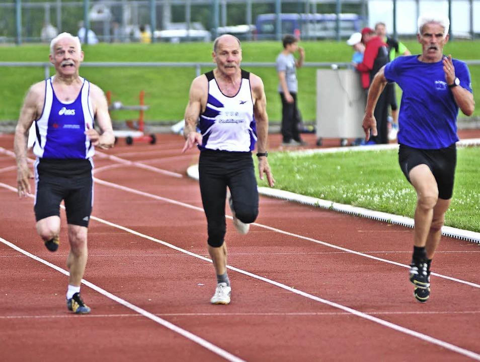 Rasant: Der 74-jährige Fritz Reichle (...int über 100 Meter in 14,36 Sekunden.     Foto: heiler