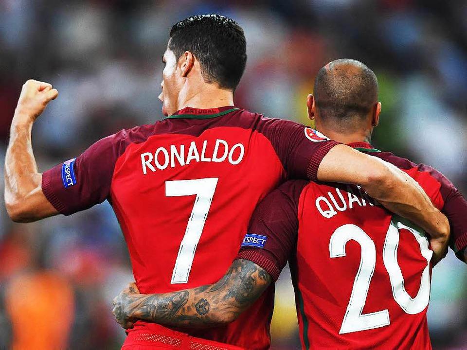 Cristiano Ronaldo freut sich über den Erfolg.  | Foto: dpa