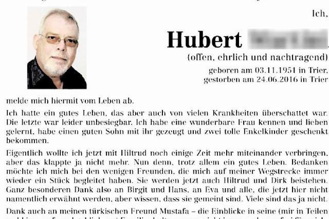 Hubert M. meldet sich vom Leben ab