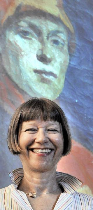 """Sigrid Faltin vor dem Selbstportrait i...roßen Schwester"""" Hilla von Rebay    Foto: Markus Zimmermann"""