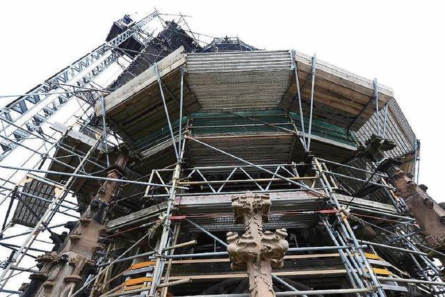 Talk auf dem Münsterturm: Live-Reportage von Freiburgs höchster Baustelle