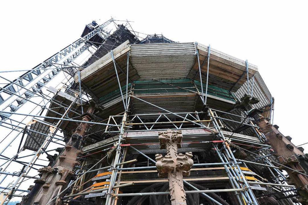 Der Freiburger Münsterturm und die Arb... unserer Liveübertragung auf Facebook.    Foto: Ingo Schneider