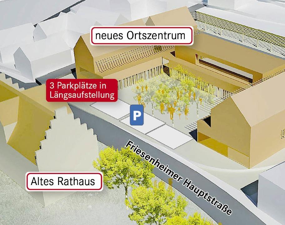 So könnten die drei neuen Parkplätze vor dem Ortszentrum angeordnet sein.     Foto: Simulation/Grafik: Werkgruppe Lahr/BZ