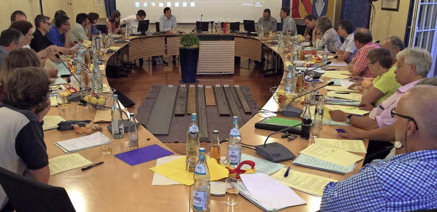 In der Mitte des Denzlinger Ratssaales...schiedenen Holzvarianten präsentiert.     Foto: Max Schuler, C. Maier
