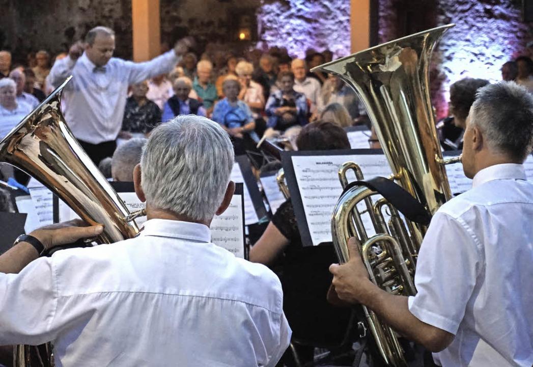 Dominik Ullrich dirigiert das Gesamtorchester Holzhausen und Neuershausen.   | Foto: Julius Steckmeister