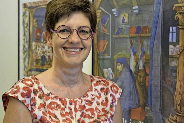 Brigit Studt spricht über die Lateinschule in Schlettstadt