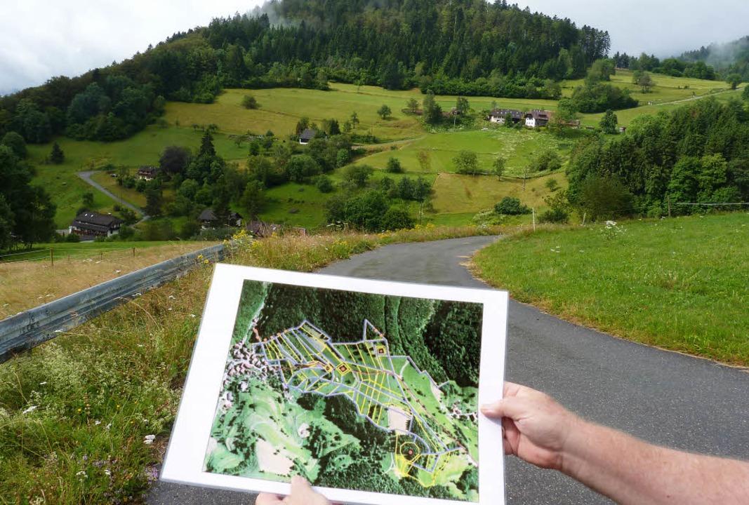 Wo heute Häuser stehen, verlief anno 1...erg handelt es sich um den Spitzkopf.   | Foto: Sattelberger