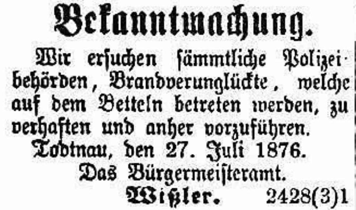 Anzeige in der Freiburger Zeitung    Foto: Benno Dörflinger