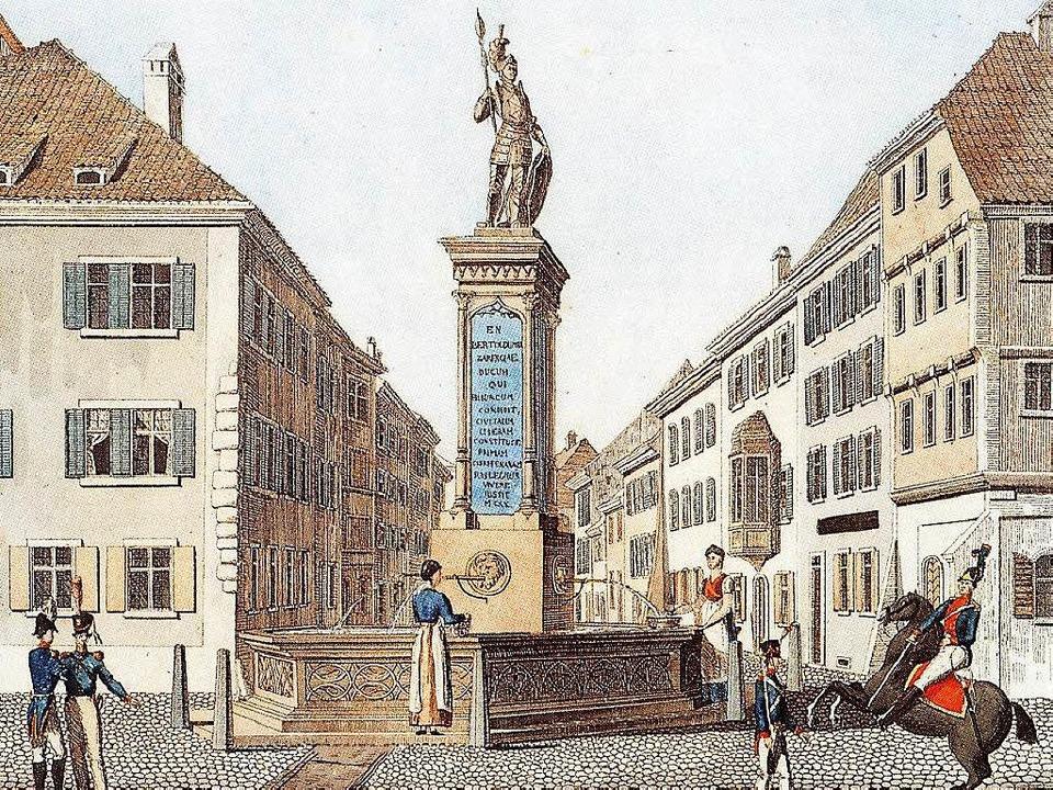 Der Bertoldsbrunnen: Lithographie von 1820 zum 700. Stadtjubiläum  | Foto: Museum für Stadtgeschichte