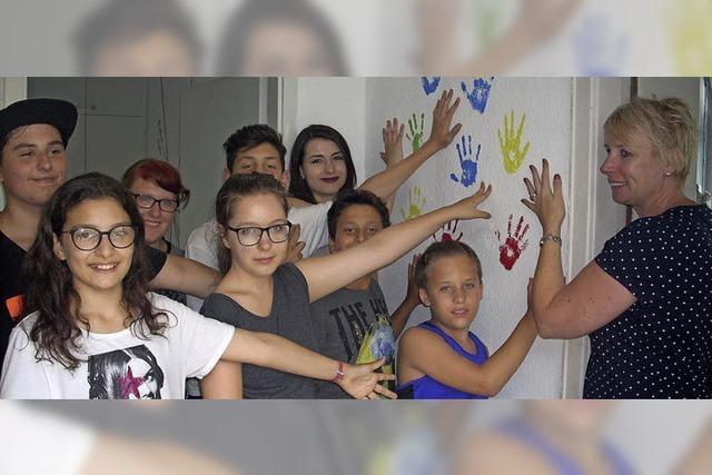 Farbige Handabdrücke als Symbol für das bunte Europa