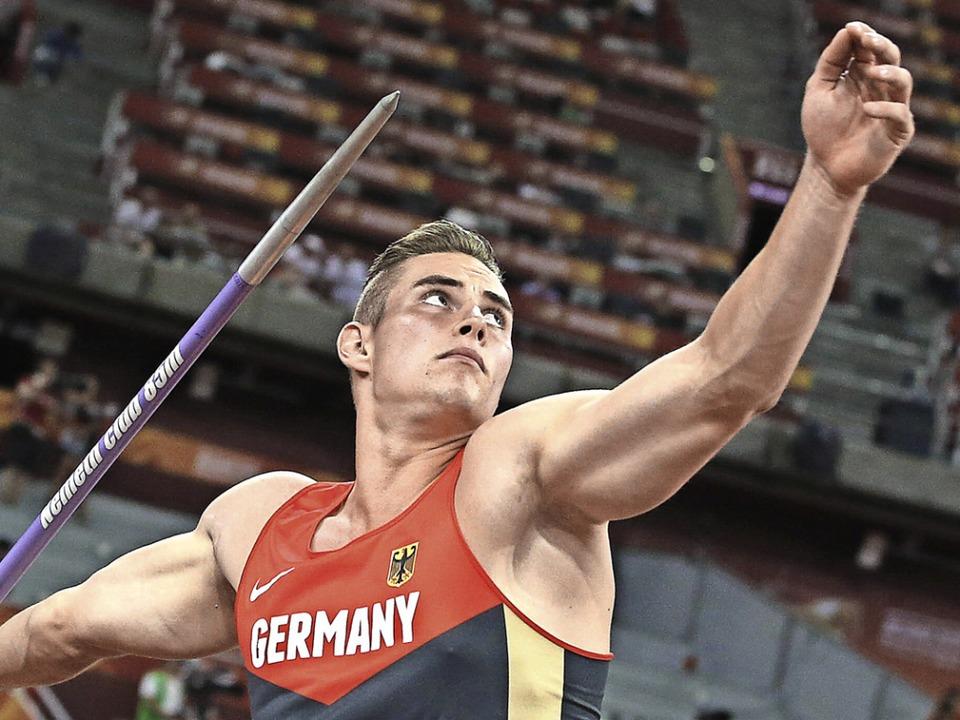 Johannes Vetter ist mit 88,23 Metern i...urf Zweiter der Weltjahresbestenliste.  | Foto: Christian Charisius