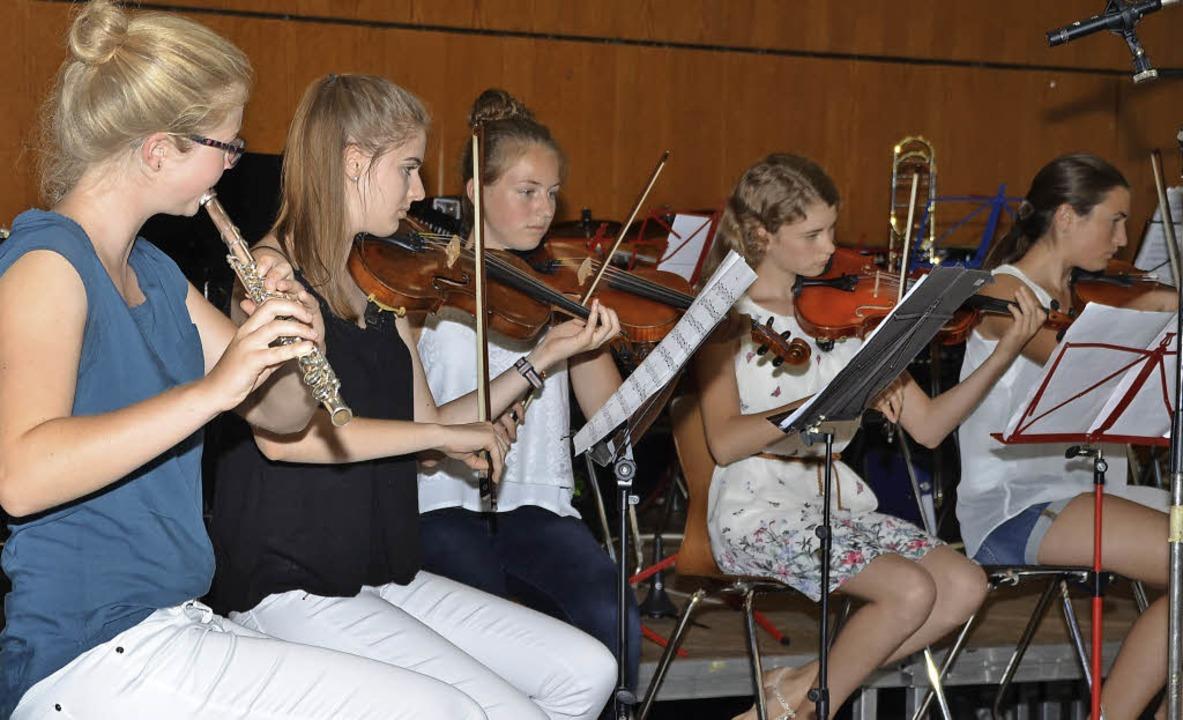 Auch die Musikerinnen des Schulorchest...ert in der Breisacher Stadthalle mit.   | Foto: Hans-Jochen Voigt