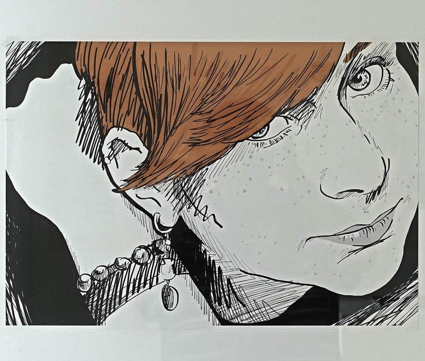 Eine Porträtzeichnung von Yanic Leipzi...sstellung Kunststoff - ganz schön jung  | Foto: Roswitha Frey