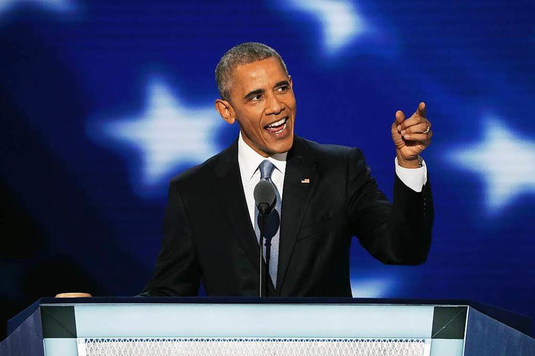 US-Präsident Barack Obama bei seiner R...teitag der Demokraten in Philadeplphia  | Foto: AFP