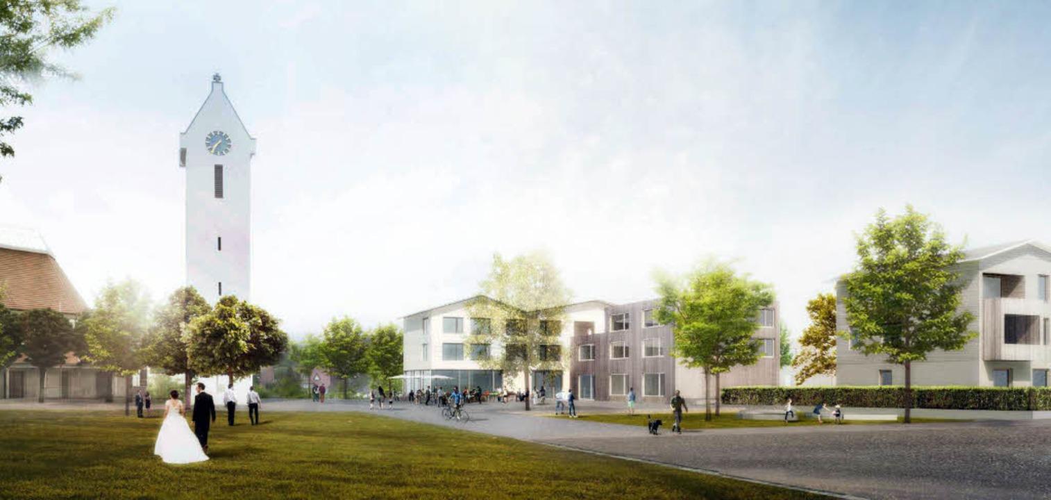 Noch ist es eine Visualisierung der Pl... Ortsmitte in Schallstadt so aussehen.    Foto: ABMP