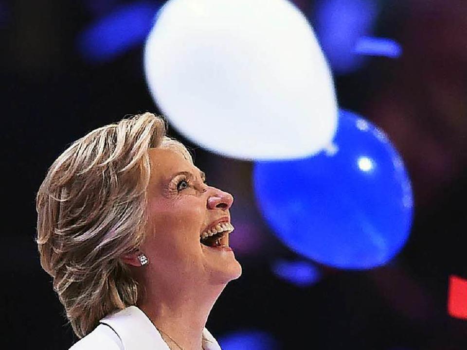 Hillary Clinton ist die erste Frau, di... Rennen ums Weiße Haus geschickt wird.    Foto: AFP