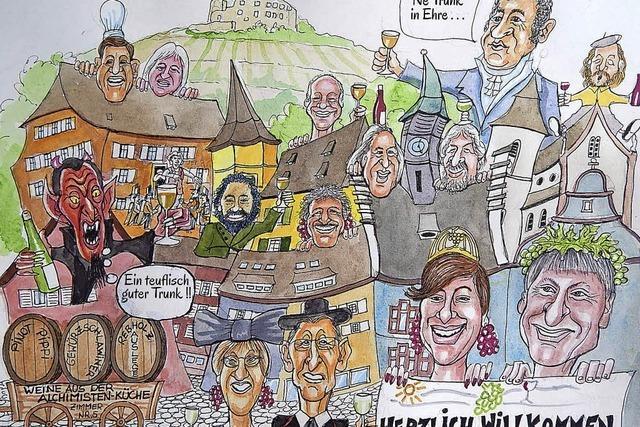 Kurz vor Beginn des Weinfests spenden Winzer für Staufener Risse-Lotterie