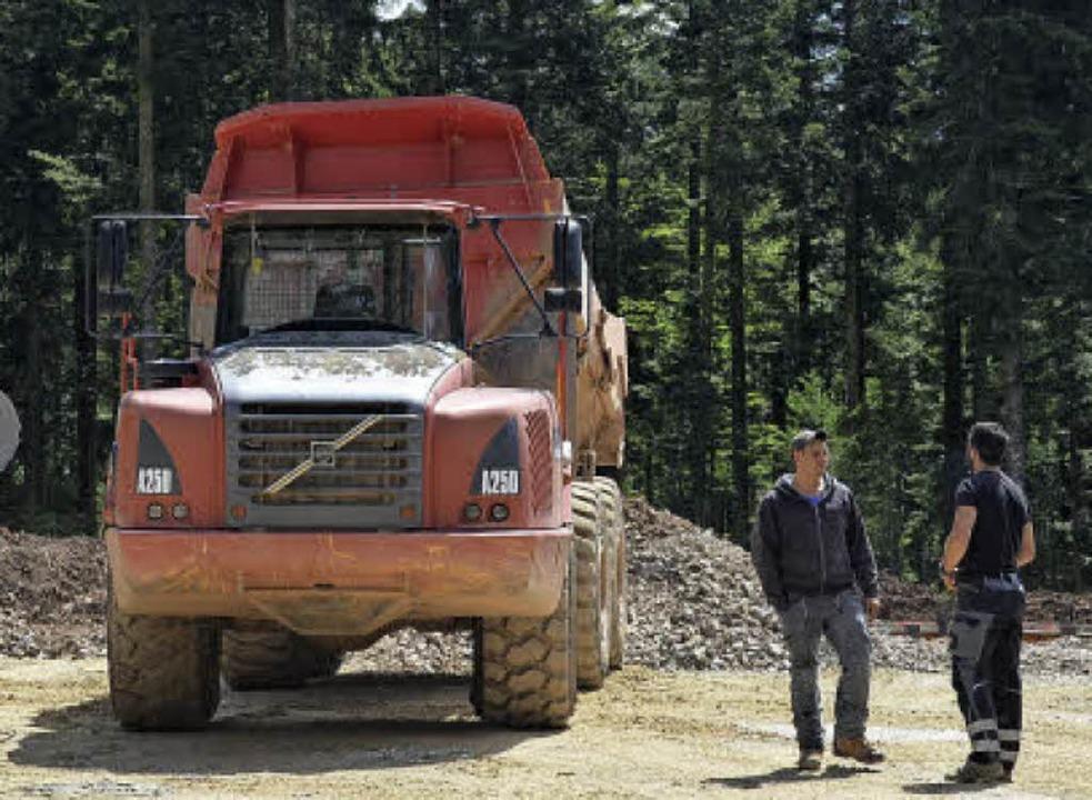 Einer der Lastwagen, die Material durch den Wald zu den Baustellen schaffen    Foto: Susanne Filz
