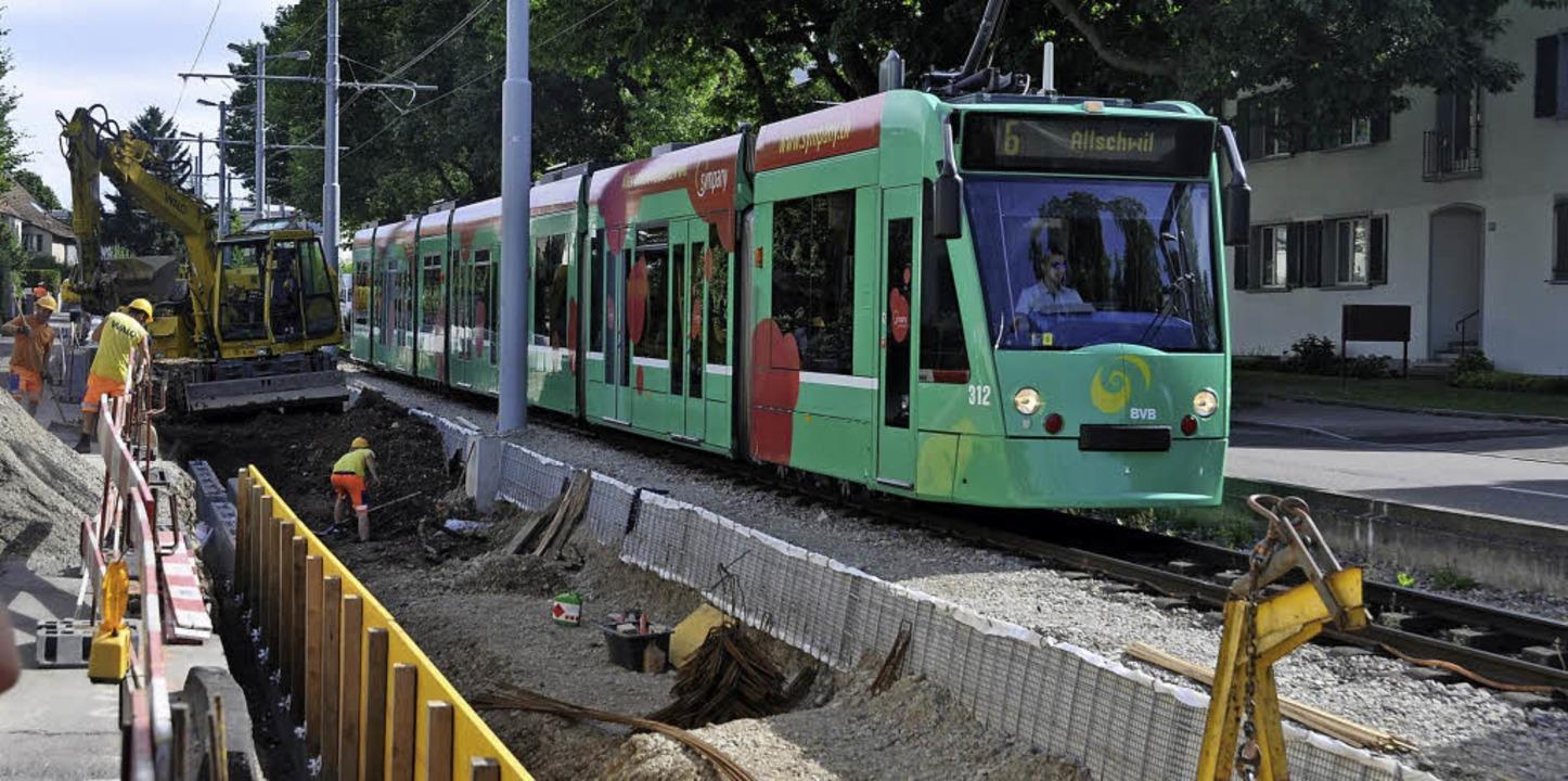 Zwischen Habermatten und Burgstraße ve...en die Trams derzeit auf einem Gleis.     Foto: Gramespacher